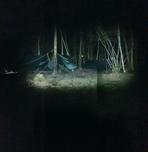 Camping in hammocks at night