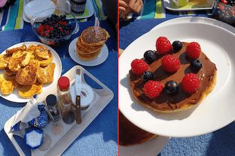 Camping in the garden - breakfast in the garden