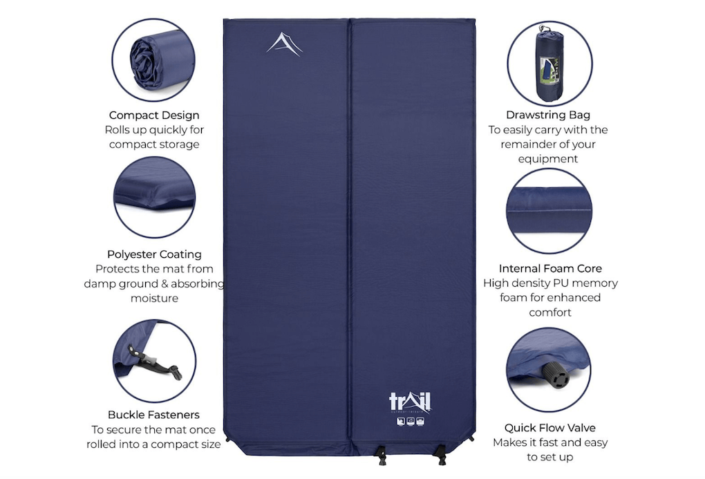 The Trail 5cm Double Self-Inflating Camping Mattress - Spec
