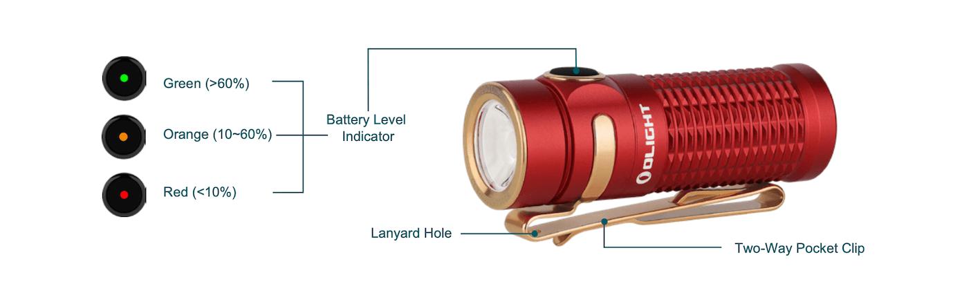 Olight Baton 3 - Premium Edition Wireless Charging Torch Review - battery indicator