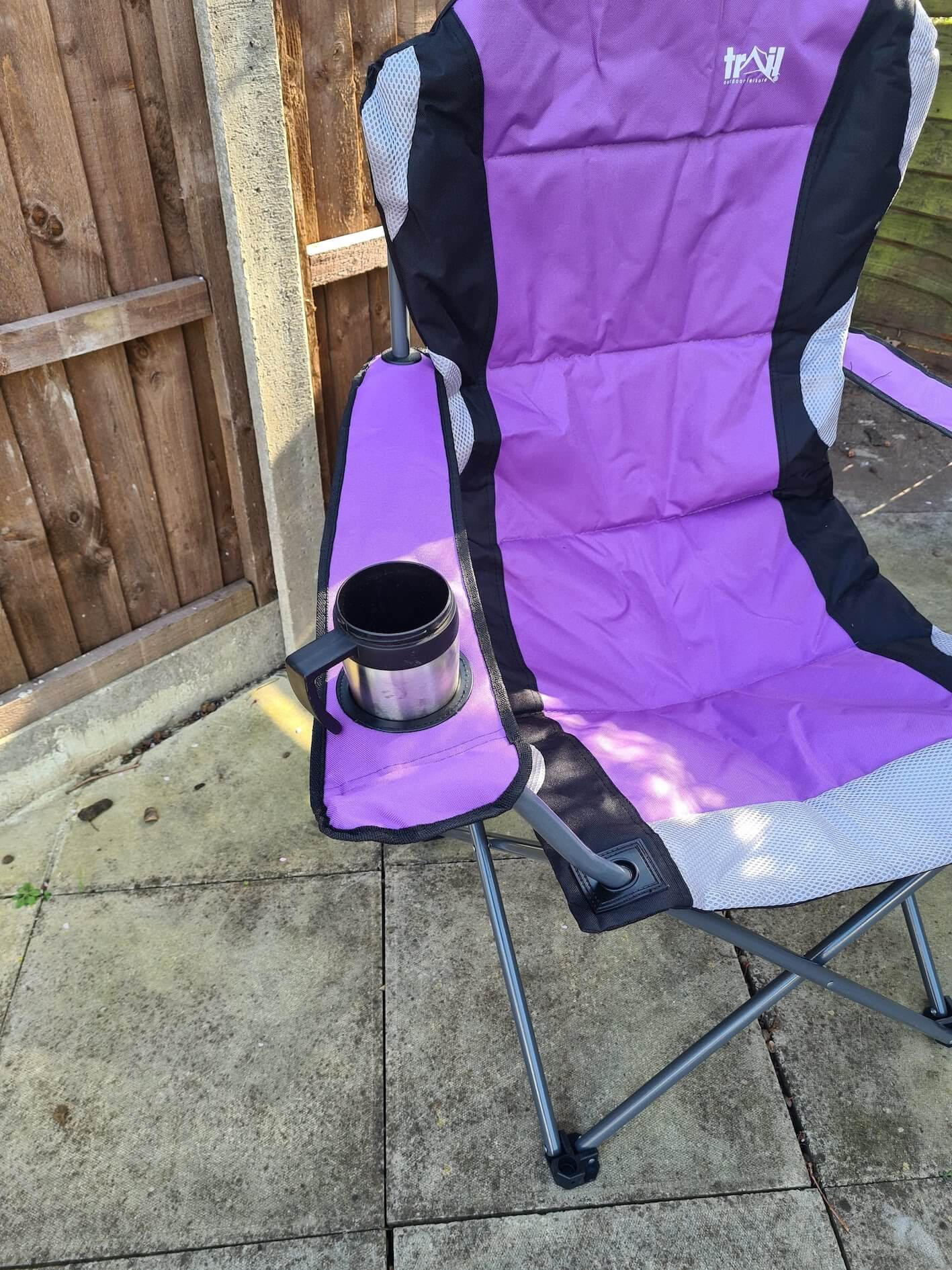 Trail Camping Chair - The Kestrel Deluxe High Back Review - cup holder