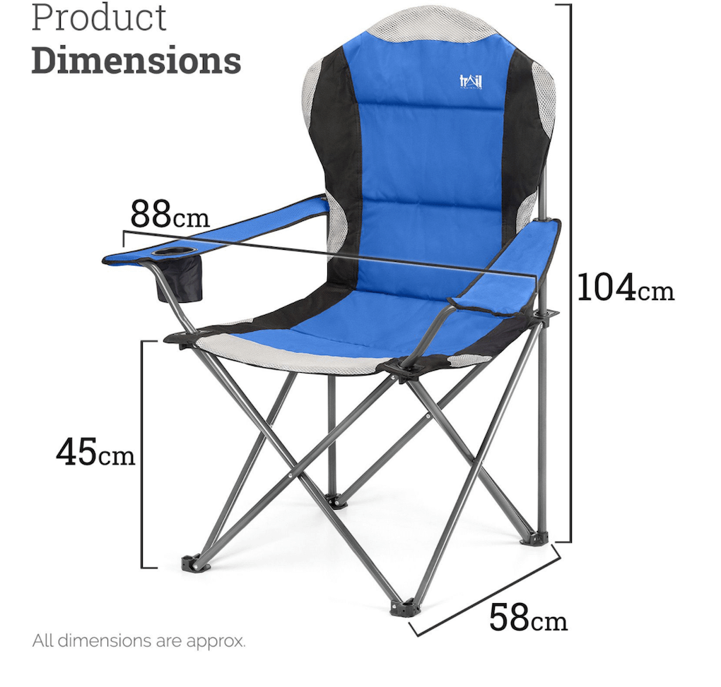 Trail Camping Chair - The Kestrel Deluxe High Back Review - dimensions