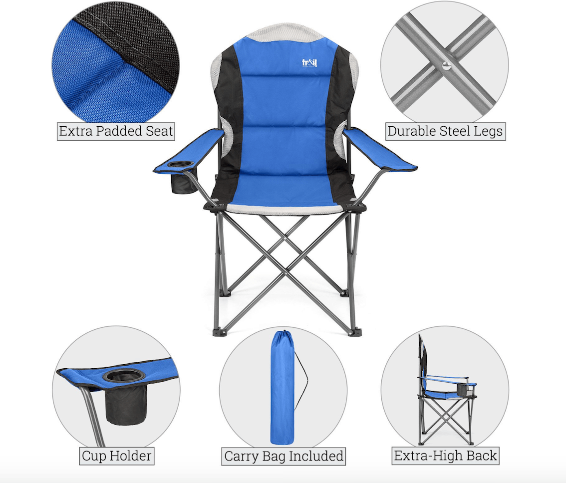 Trail Camping Chair - The Kestrel Deluxe High Back Review - features