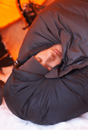 How To Stay Warm While Camping - sleeping bag head